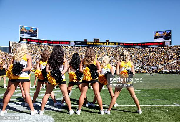 Cheerleaders for the Iowa Hawkeyes line up for pregame ceremonies before the matchup against the North Dakota State Bisons on September 17 2016 at...