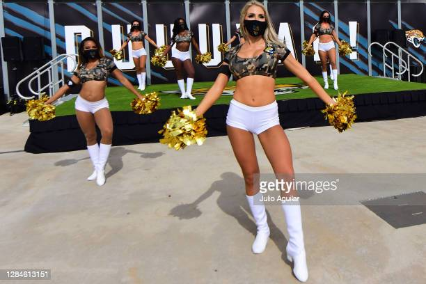 Cheerleaders for the Jacksonville Jaguars perform during a game against the Houston Texans at TIAA Bank Field on November 08, 2020 in Jacksonville,...