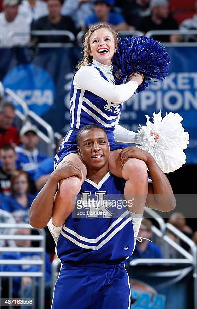 Cheerleaders for the Kentucky Wildcats in action against the Cincinnati Bearcats during the third round of the 2015 NCAA Men's Basketball Tournament...