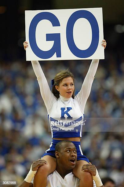 Cheerleaders for the Kentucky Wildcats support their team against the South Carolina Gamecocks as the Wildcats defeated the Gamecocks 7863 during the...