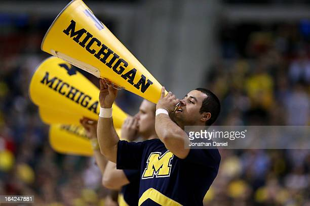 Cheerleaders for the Michigan Wolverines perform against the South Dakota State Jackrabbits during the second round of the 2013 NCAA Men's Basketball...