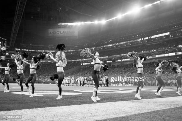 Cheerleaders for the Minnesota Vikings perform during the game between the Minnesota Vikings and the Green Bay Packers at US Bank Stadium on November...