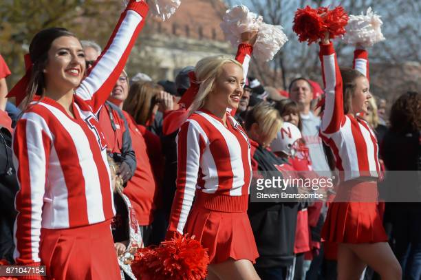 Cheerleaders for the Nebraska Cornhuskers perform before the game against the Northwestern Wildcats at Memorial Stadium on November 4 2017 in Lincoln...