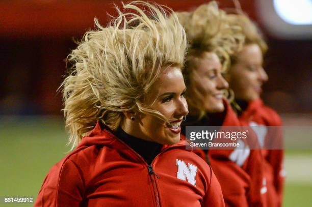 Cheerleaders for the Nebraska Cornhuskers perform during a break in the game against the Ohio State Buckeyes at Memorial Stadium on October 14 2017...