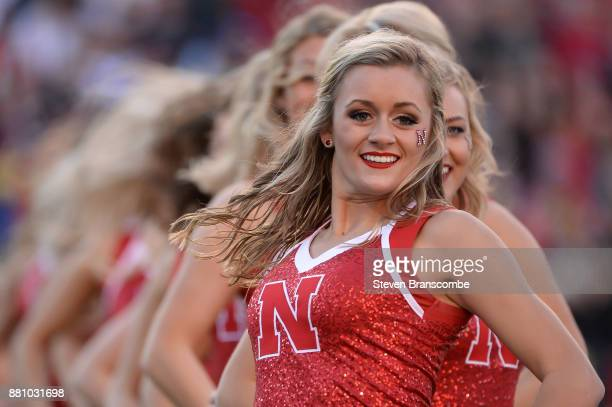 Cheerleaders for the Nebraska Cornhuskers perform during the game against the Iowa Hawkeyes at Memorial Stadium on November 24 2017 in Lincoln...