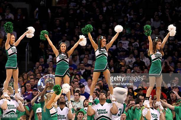 Cheerleaders for the North Texas Mean Green performs against the Kansas State Wildcats during the first round of the 2010 NCAA men's basketball...