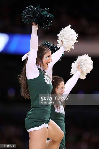 A cheerleaders for the Ohio Bobcats perform against the North Carolina Tar Heels during the 2012 NCAA Men's Basketball Midwest Regional Semifinal at...