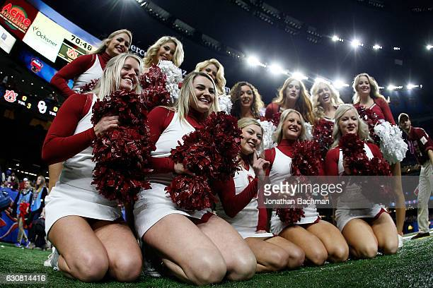 Cheerleaders for the Oklahoma Sooners look on prior to playing the Auburn Tigers at the Allstate Sugar Bowl at the MercedesBenz Superdome on January...