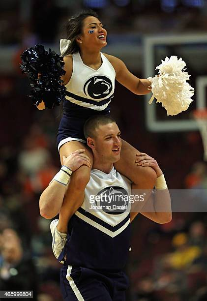 Cheerleaders for the Penn State Nittany Lions perform during a timeout between the Nittany Lions and the Iowa Hawkeyes during the second round of the...