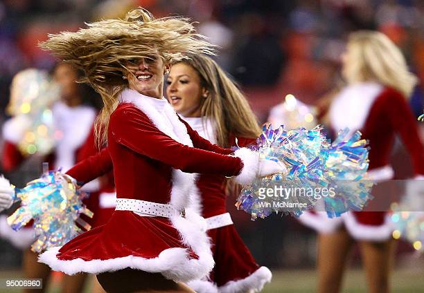Cheerleaders for the Washington Redskins dance during the game against the New York Giants at FedEx Field on December 21 2009 in Landover Maryland