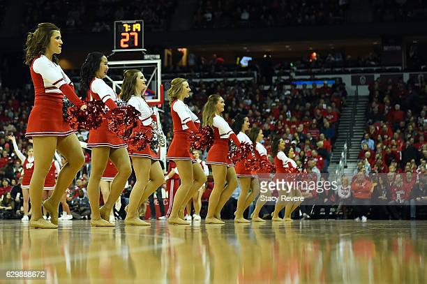 Cheerleaders for the Wisconsin Badgers perform during a game against the Green Bay Phoenix at the Kohl Center on December 14 2016 in Madison Wisconsin