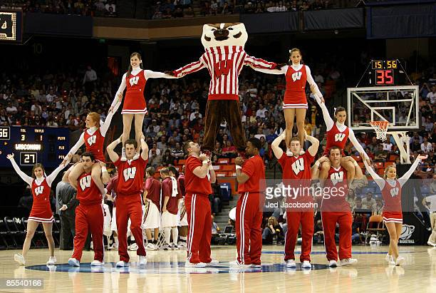 Cheerleaders for the Wisconsin Badgers perform during the game against the Florida State Seminoles in the first round of the NCAA Division I Men's...