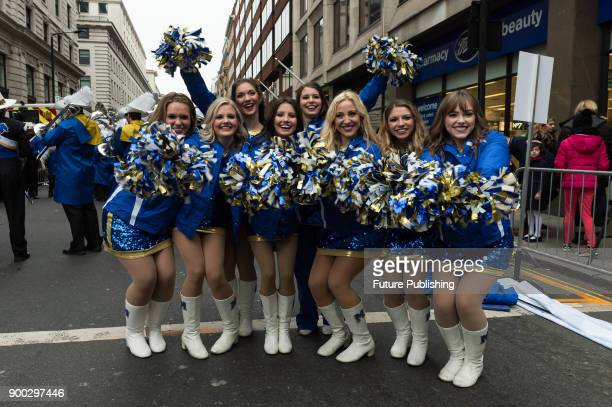 Cheerleaders from McNeese State University in Louisiana practice ahead of London's New Year's Day Parade 2018 Around 500000 spectators gather along...