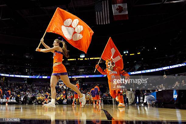 Cheerleaders from the Clemson Tigers perform against the West Virginia Mountaineers during the second round of the 2011 NCAA men's basketball...