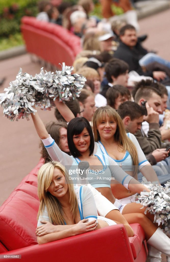 Cheerleaders From The Scottish Rockettes, With Gemma McKie (front), Sit On  The