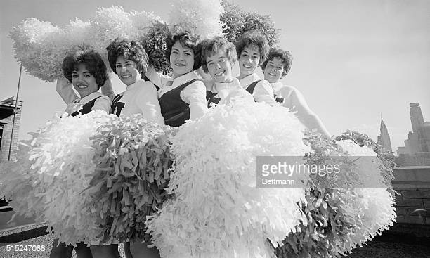 Cheerleaders from the Southwest practice for the Gotham Bowl game at the Hotel Manhattan They are l to r Marsha Hendrickson Nan Richards Carma Banks...
