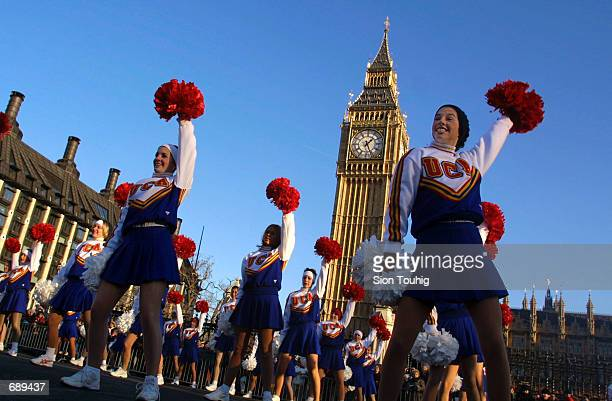 Cheerleaders from the Universal Cheerleaders Association from Memphis Tennessee dance in front of Big Ben January 1 during the sixteenth New Years...