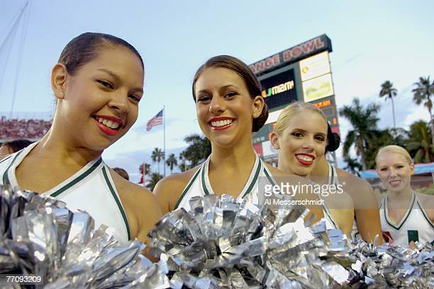 Cheerleaders from the University of Miami Hurricanes entertain during play against Texas A&M Aggies at the Orange Bowl on September 20, 2007 in...