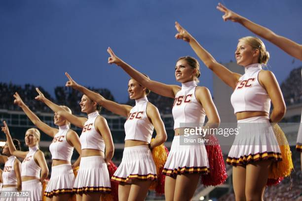 Cheerleaders from the University of Southern California Trojans encourage their fans before a game against the University of Arkansas Razorbacks on...