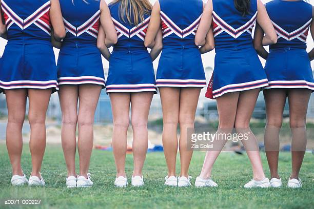 cheerleaders in a row - black cheerleaders stock photos and pictures