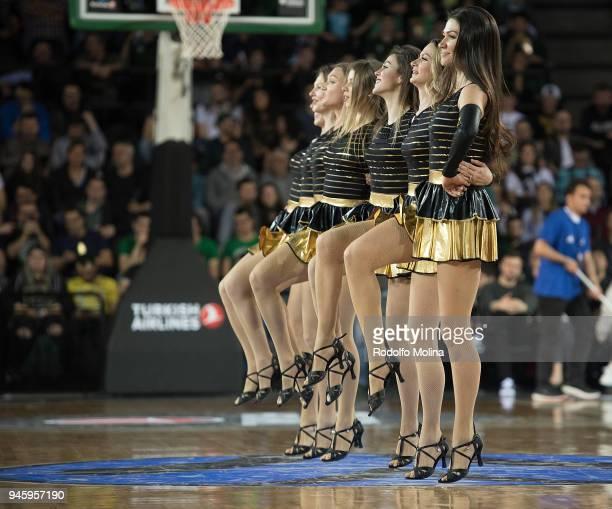 Cheerleaders in action during the 7DAYS EuroCup Basketball Finals game two between Darussafaka Istanbul v Lokomotiv Kuban Krasnodar at Vokswagen...