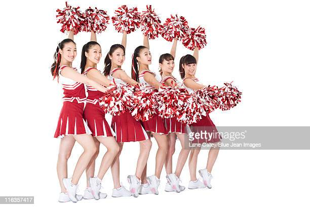 cheerleaders in action - asian cheerleaders stock photos and pictures