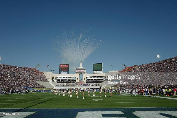 Cheerleaders line up before the capacity crowd jsut prior to the kickoff of the game between the Dallas Cowboys and the Los Angeles Rams at the Los...