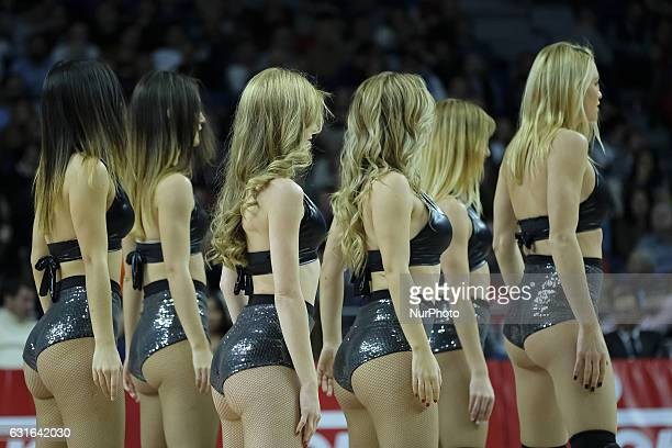 Cheerleaders of Real Madrid in action during the 2016/2017 Turkish Airlines EuroLeague Regular Season Round 17 game between Real Madrid v Maccabi Fox...