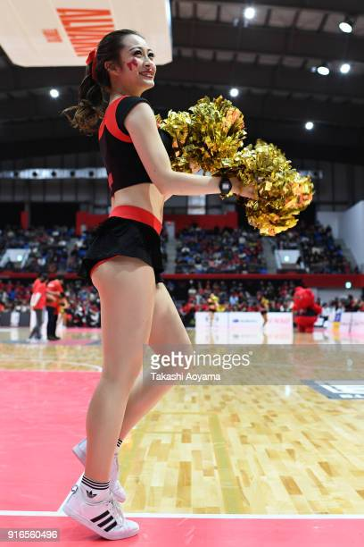Cheerleaders of the Alvark Tokyo perform during the BLeague match between Alverk Tokyo and Kawasaki Brave Thunders at the Arena Tachikawa Tachihi on...