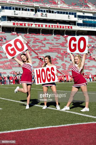 Cheerleaders of the Arkansas Razorbacks before a game against the New Mexico State Aggies at Donald W. Reynolds Razorback Stadium on September 30,...