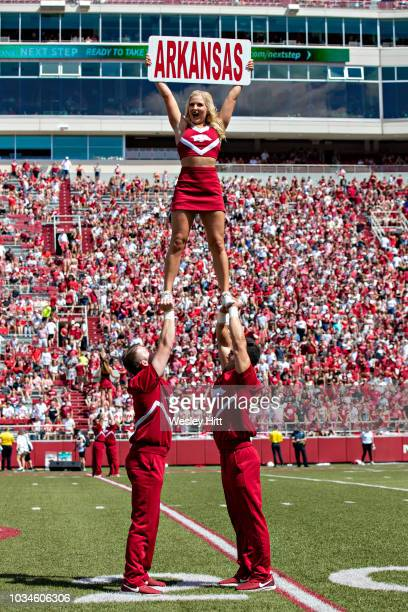 Cheerleaders of the Arkansas Razorbacks perform before a game against the Eastern Illinois Panthers at Razorback Stadium on September 1, 2018 in...