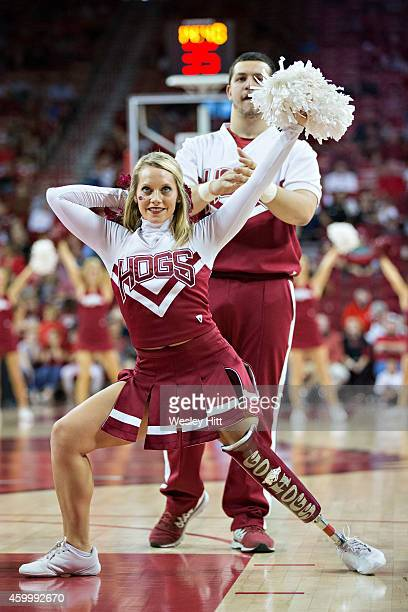 Cheerleaders of the Arkansas Razorbacks perform before a game against the Iona Gaels at Bud Walton Arena on November 30 2014 in Fayetteville Arkansas...