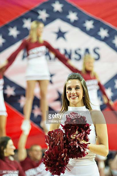 Cheerleaders of the Arkansas Razorbacks perform during a game against the Alabama Crimson Tide at Bud Walton Arena on January 22, 2015 in...