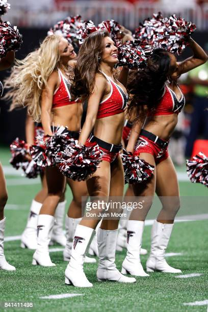 Cheerleaders of the Atlanta Falcons performs during a preseason game against the Jacksonville Jaguars at MercedesBenz Stadium on August 31 2017 in...