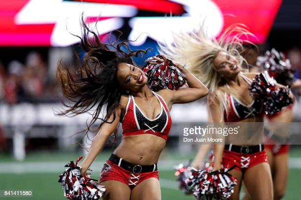 Cheerleaders of the Atlanta Falcons performs during a preseason game against the Jacksonville Jaguars at Mercedes-Benz Stadium on August 31, 2017 in...