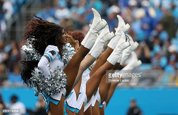 Cheerleaders of the Carolina Panthers during their game at Bank of America Stadium on September 27 2015 in Charlotte North Carolina