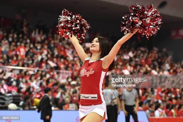 Cheerleaders of the Chiba Jets perform during the B.League game between Chiba Jets and Tochigi Brex at Funabashi Arena on March 17, 2018 in...
