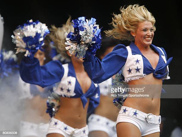 Cheerleaders of the Dallas Cowboys exiting the tunnel before game against the St Louis Rams on September 30 2007 at Texas Stadium in Irving Texas The...
