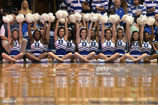 Cheerleaders of the Duke Blue Devils perform during a game against the Utah State Aggies at Cameron Indoor Stadium on November 29 2015 in Durham...