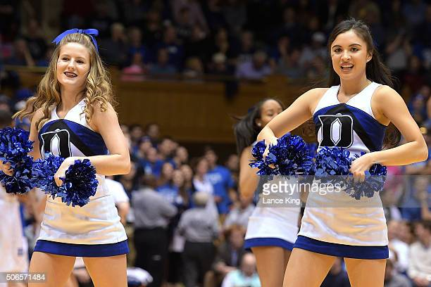 Cheerleaders of the Duke Blue Devils perform during a game against the Syracuse Orange at Cameron Indoor Stadium on January 18 2016 in Durham North...