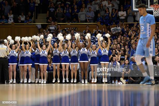 Cheerleaders of the Duke Blue Devils perform during the game against the North Carolina Tar Heels at Cameron Indoor Stadium on March 3 2018 in Durham...