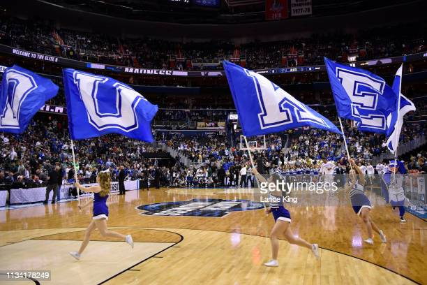 Cheerleaders of the Duke Blue Devils run onto the court prior to the game against the Michigan State Spartans during the 2019 NCAA Men's Basketball...
