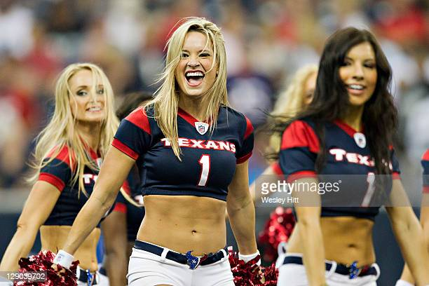 Cheerleaders of the Houston Texans perform during a game against the Oakland Raiders at Reliant Stadium on October 9 2011 in Houston Texas The...