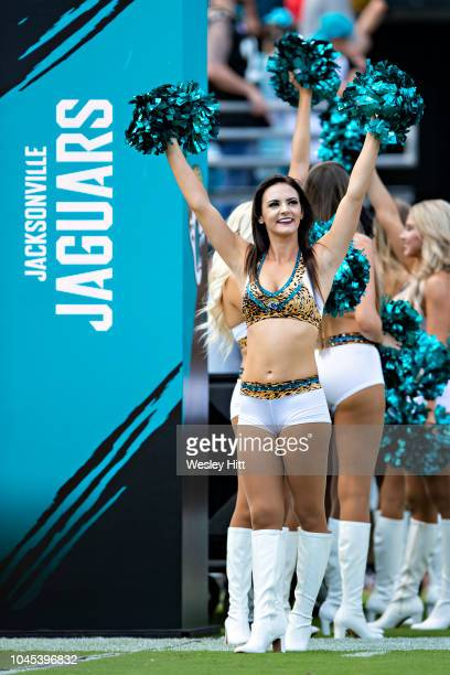 Cheerleaders of the Jacksonville Jaguars performs before a game against the Tennessee Titans at TIAA Bank Field on September 23, 2018 in...
