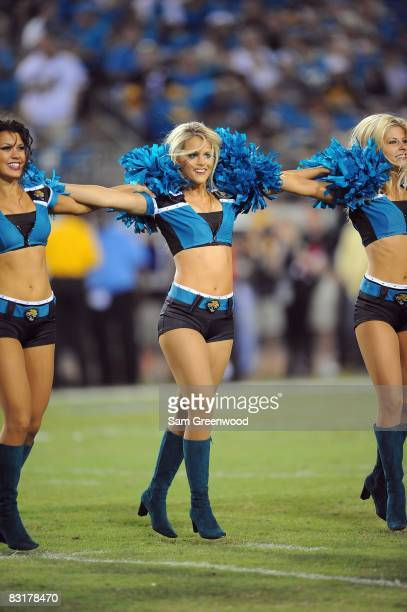 Cheerleaders of the Jacksonville Jaguars performs on the field during the game against the Pittsburgh Steelers at Jacksonville Municipal Stadium on...