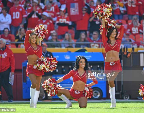 Cheerleaders of the Kansas City Chiefs perform during a game against the Pittsburgh Steelers on October 15 2017 at Arrowhead Stadium in Kansas City...