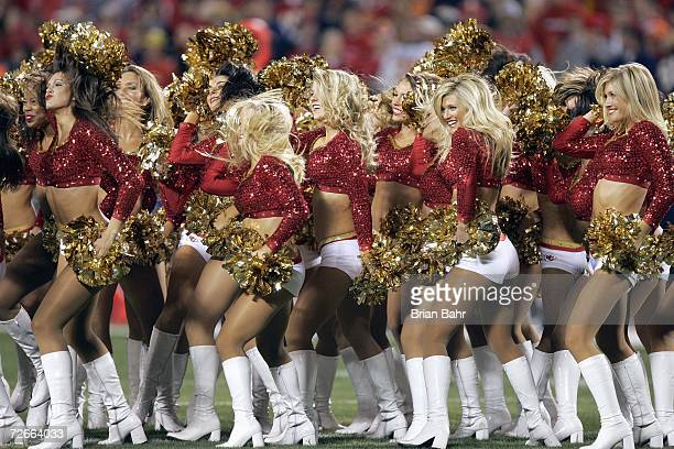 Cheerleaders of the Kansas City Chiefs perform on the field during the game against the Denver Broncos on November 23 2006 at Arrowhead Stadium in...