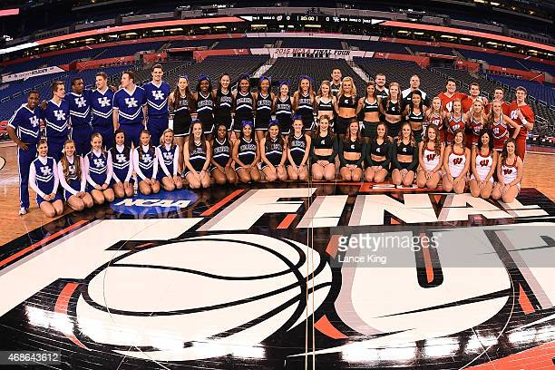 Cheerleaders of the Kentucky Wildcats Duke Blue Devils Michigan State Spartans and Wisconsin Badgers pose for photos during the NCAA Men's Final Four...