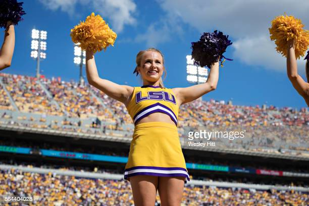 Cheerleaders of the LSU Tigers perform during a game against the Auburn Tigers at Tiger Stadium on October 14 2017 in Baton Rouge Louisiana LSU...
