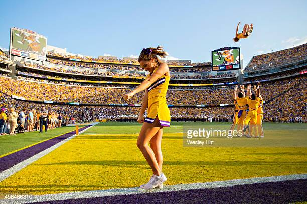 Cheerleaders of the LSU Tigers perform during a game against the Mississippi State Bulldogs at Tiger Stadium on September 20 2014 in Baton Rouge...